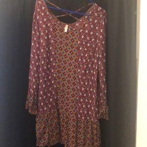 Xhiliration multi colored long sleeve dress